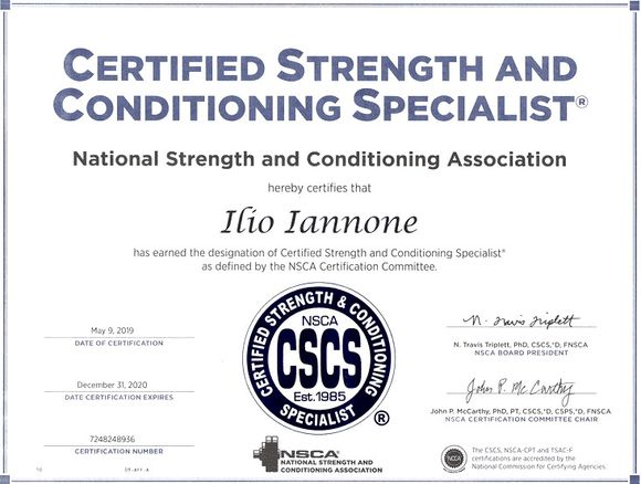 Certificazione CSCS Italia Ilio Iannone